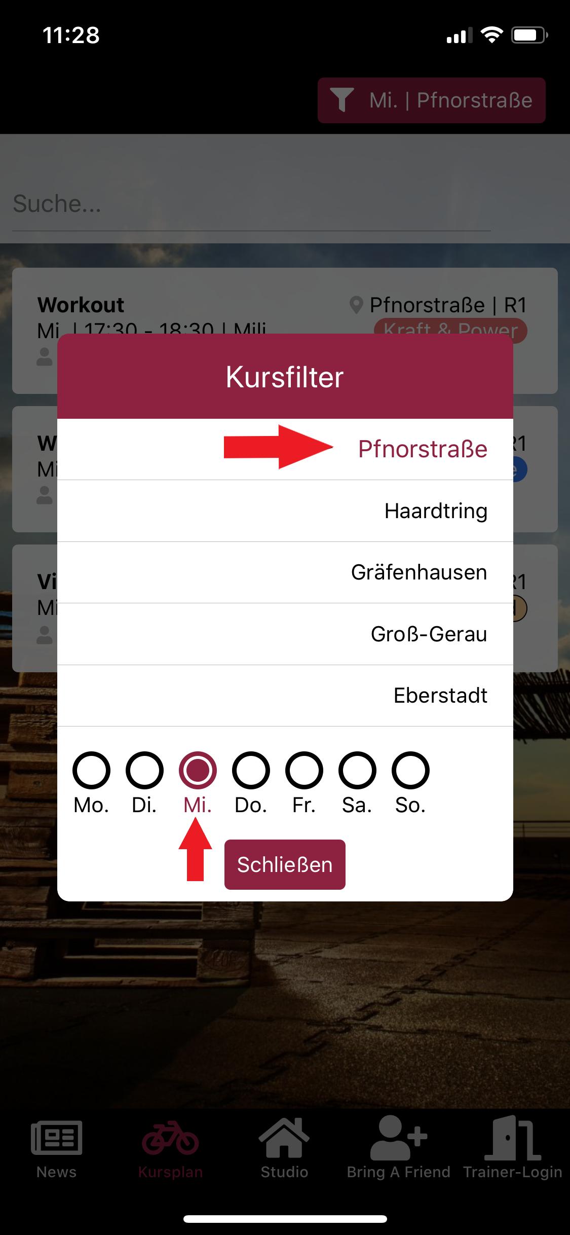 Kursfilter in der App