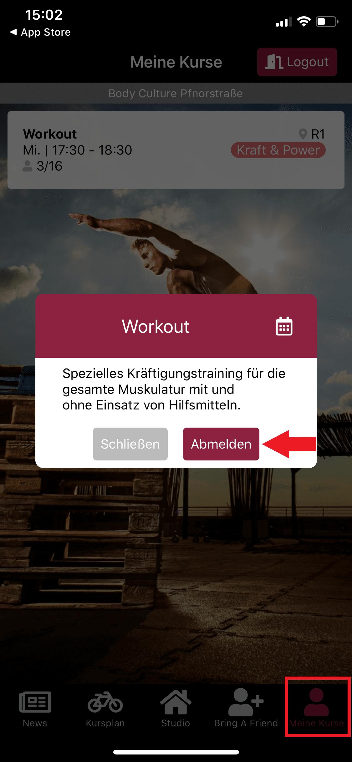 App vom Workout Kurs abmelden
