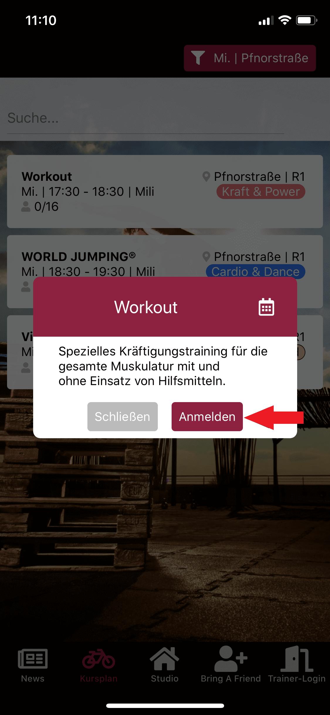 Zum Workout Kurs in der App anmelden